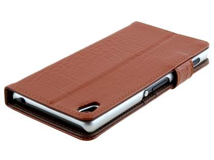 TS-CASE crocodile pattern Genuine leather Wallet Case for Sony Xperia Z3 - Brown