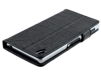 TS-CASE Crocodile Pattern Genuine leather Wallet Case for Sony Xperia Z3 - Classic Black