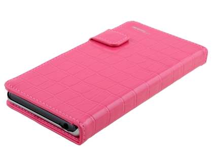 TS-CASE crocodile pattern Genuine leather Wallet Case for Sony Xperia Z3 - Pink