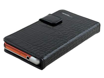 TS-CASE crocodile pattern Genuine leather Wallet Case for Sony Xperia Z3 Compact - Classic Black