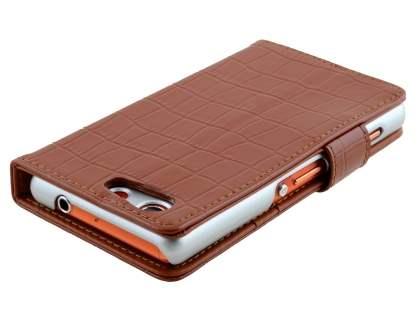 TS-CASE crocodile pattern Genuine leather Wallet Case for Sony Xperia Z3 Compact - Brown