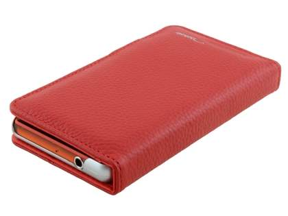 TS-CASE Sony Xperia Z3 Compact Genuine Textured Leather Wallet Case with Stand - Red