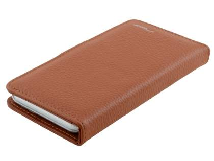 TS-CASE iPhone 6s Plus / 6 Plus Genuine Textured Leather Wallet Case with Stand - Brown
