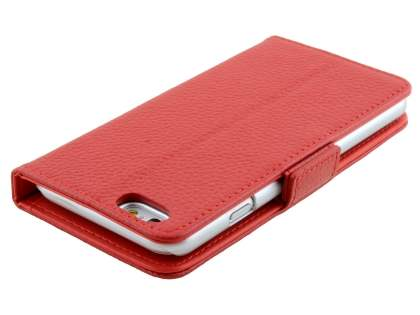 TS-CASE Genuine Textured Leather Wallet Case with Stand for iPhone 6s Plus/6 Plus - Red