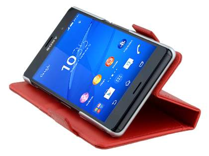 TS-CASE Sony Xperia Z3 Genuine Textured Leather Wallet Case with Stand - Red