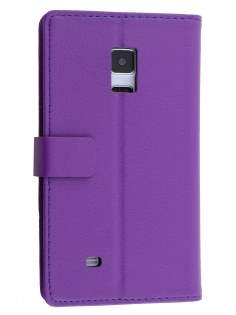 Synthetic Leather Wallet Case with Stand for Samsung Galaxy Note Edge - Purple Leather Wallet Case