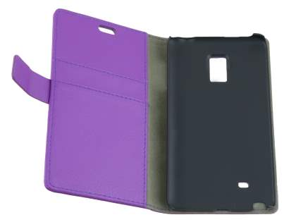 Samsung Galaxy Note Edge Slim Synthetic Leather Wallet Case with Stand - Purple