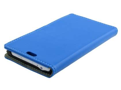 Samsung Galaxy Note Edge Slim Synthetic Leather Wallet Case with Stand - Blue