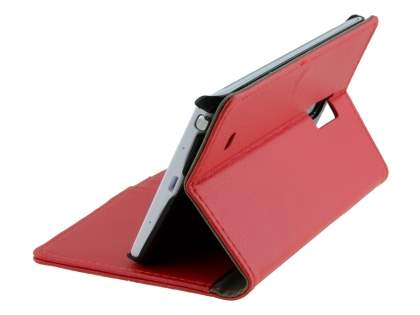 Samsung Galaxy Note Edge Slim Synthetic Leather Wallet Case with Stand - Red