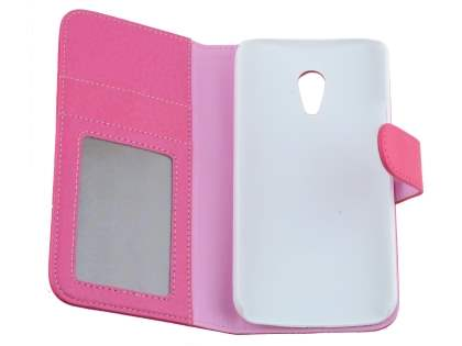 Motorola Moto G 2nd Gen Slim Synthetic Leather Wallet Case with Stand - Pink