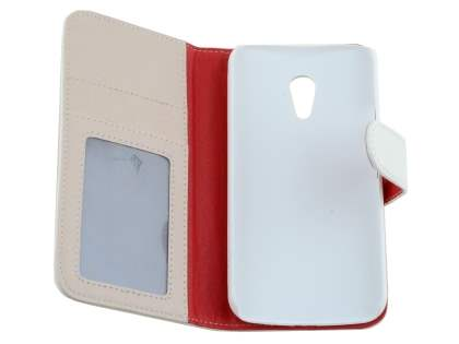 Synthetic Leather Wallet Case with Stand for Motorola Moto G 2nd Gen - Pearl White