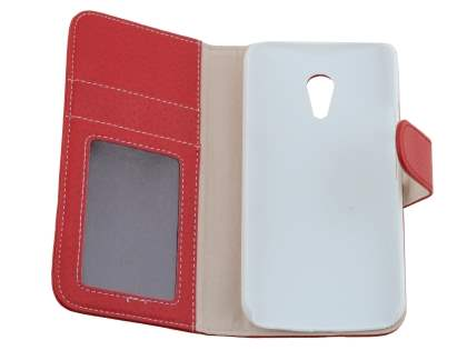 Synthetic Leather Wallet Case with Stand for Motorola Moto G 2nd Gen - Red