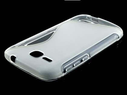 Wave Case for Huawei Ascend Y600 - Frosted Clear/Clear Soft Cover