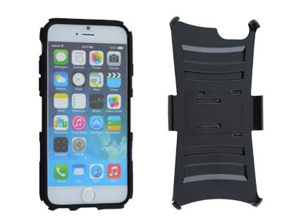 Rugged Case with Holster Belt Clip for iPhone 6 Plus/6s Plus - Classic Black