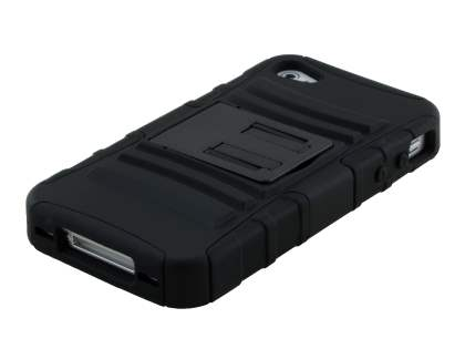 Rugged Case with Holster Belt Clip for iPhone 4/4s - Classic Black