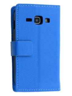 Samsung Galaxy Ace 3 4G S7275T Slim Synthetic Leather Wallet Case with Stand - Blue Leather Wallet Case