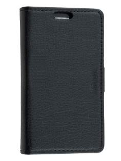 Samsung Galaxy Ace 3 4G S7275T Slim Synthetic Leather Wallet Case with Stand - Classic Black