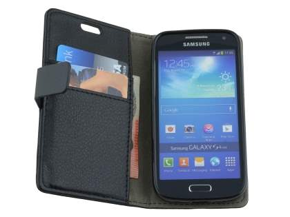 Samsung I9195T Galaxy S4 mini Slim Synthetic Leather Wallet Case with Stand - Classic Black