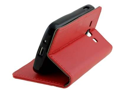 Samsung Galaxy Ace 3 4G S7275T Slim Synthetic Leather Wallet Case with Stand - Red
