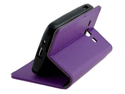 Samsung Galaxy Ace 3 4G S7275T Slim Synthetic Leather Wallet Case with Stand - Purple