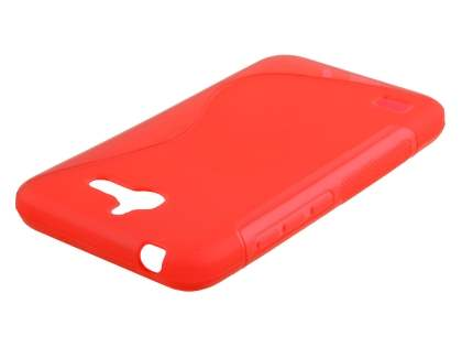 Wave Case for Huawei Ascend Y550 - Frosted Red/Red Soft Cover