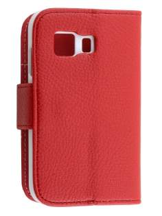 Synthetic Leather Wallet Case with Stand for Samsung Galaxy Young 2 - Red Leather Wallet Case