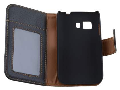 Synthetic Leather Wallet Case with Stand for Samsung Galaxy Young 2 - Classic Black