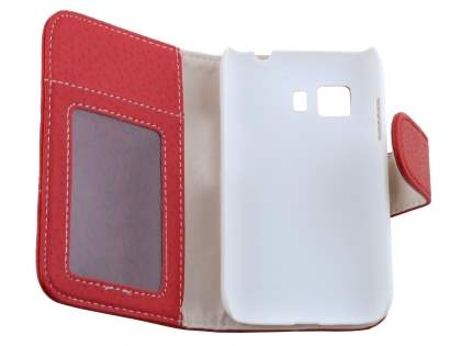 Synthetic Leather Wallet Case with Stand for Samsung Galaxy Young 2 - Red
