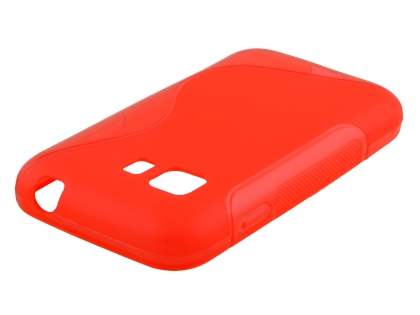 Wave Case for Samsung Galaxy Young 2 - Frosted Red/Red Soft Cover