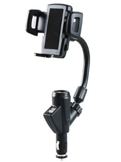 Dual USB Port Car Charger Holder - Cradle