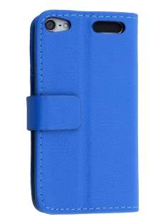 Synthetic Leather Wallet Case with Stand for iPod Touch 5/6 - Blue Leather Wallet Case