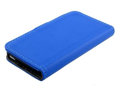 iPod Touch 5 Slim Synthetic Leather Wallet Case with Stand - Blue