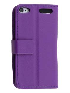 iPod Touch 5 Slim Synthetic Leather Wallet Case with Stand - Purple
