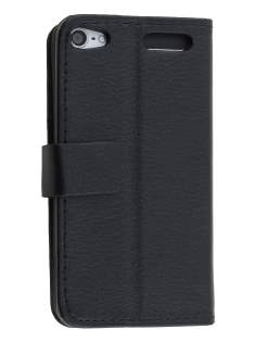 Synthetic Leather Wallet Case with Stand for iPod Touch 5/6 - Classic Black Leather Wallet Case