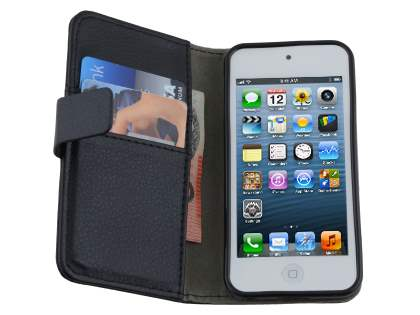 iPod Touch 5 Slim Synthetic Leather Wallet Case with Stand - Classic Black