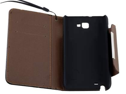 Stylish Synthetic Leather C Wallet Case with Strip for Samsung I9220 Galaxy Note  - Classic Black/Brown