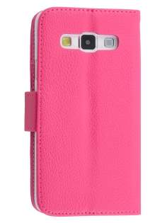 Synthetic Leather Wallet Case with Stand for Samsung Galaxy A3 A300F - Hot Pink Leather Wallet Case