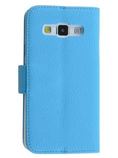 Synthetic Leather Wallet Case with Stand for Samsung Galaxy A3 A300F - Sky Blue Leather Wallet Case