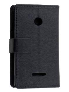 Slim Synthetic Leather Wallet Case with Stand for Nokia Lumia 435/532 - Classic Black Leather Wallet Case