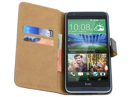 HTC Desire 820 Genuine Leather Wallet Case with Stand - Classic Black