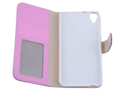 HTC Desire 820 Synthetic Leather Wallet Case with Stand - Light Purple