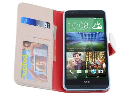 Synthetic Leather Wallet Case with Stand for HTC Desire 820 - Pearl White
