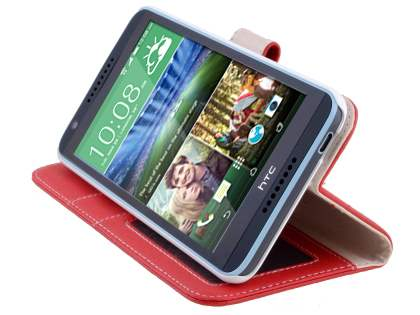 HTC Desire 820 Synthetic Leather Wallet Case with Stand - Red