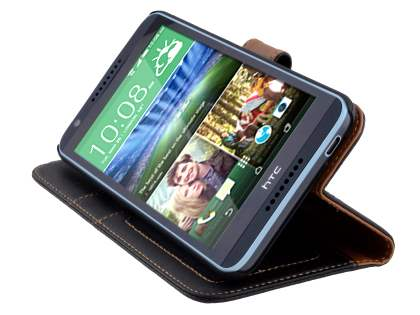 Synthetic Leather Wallet Case with Stand for HTC Desire 820 - Classic Black