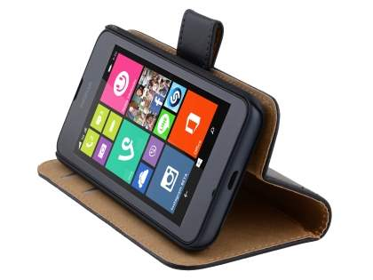 Nokia Lumia 530 Genuine Leather Wallet Case with Stand - Classic Black