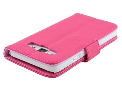 Synthetic Leather Wallet Case with Stand for Samsung Galaxy A3 A300F - Hot Pink