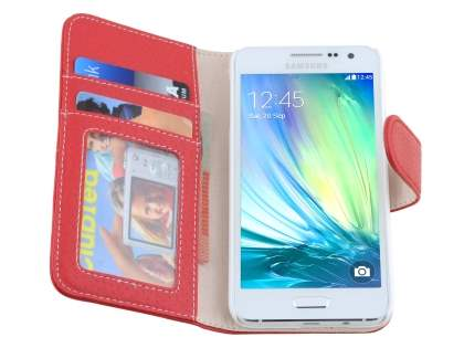 Samsung Galaxy A3 A300F Synthetic Leather Wallet Case with Stand - Red