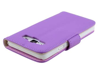 Samsung Galaxy A3 A300F Synthetic Leather Wallet Case with Stand - Light Purple