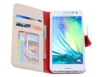 Samsung Galaxy A3 A300F Synthetic Leather Wallet Case with Stand - Pearl White