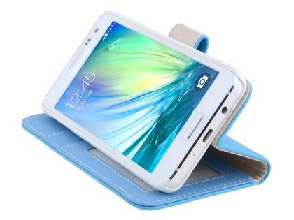 Samsung Galaxy A3 A300F Synthetic Leather Wallet Case with Stand - Sky Blue